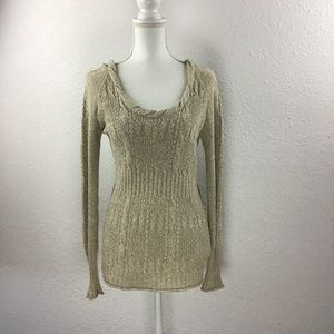 DKNY Jeans Hooded Knit Pullover Sweater Size Med